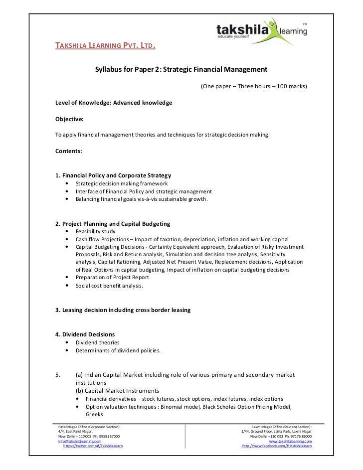 TAKSHILA LEARNING PVT. LTD.                       Syllabus for Paper 2: Strategic Financial Management                    ...