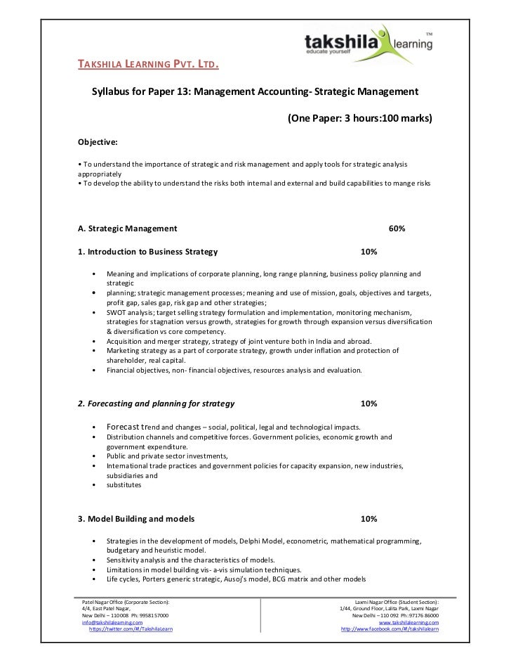 TAKSHILA LEARNING PVT. LTD.     Syllabus for Paper 13: Management Accounting- Strategic Management                        ...