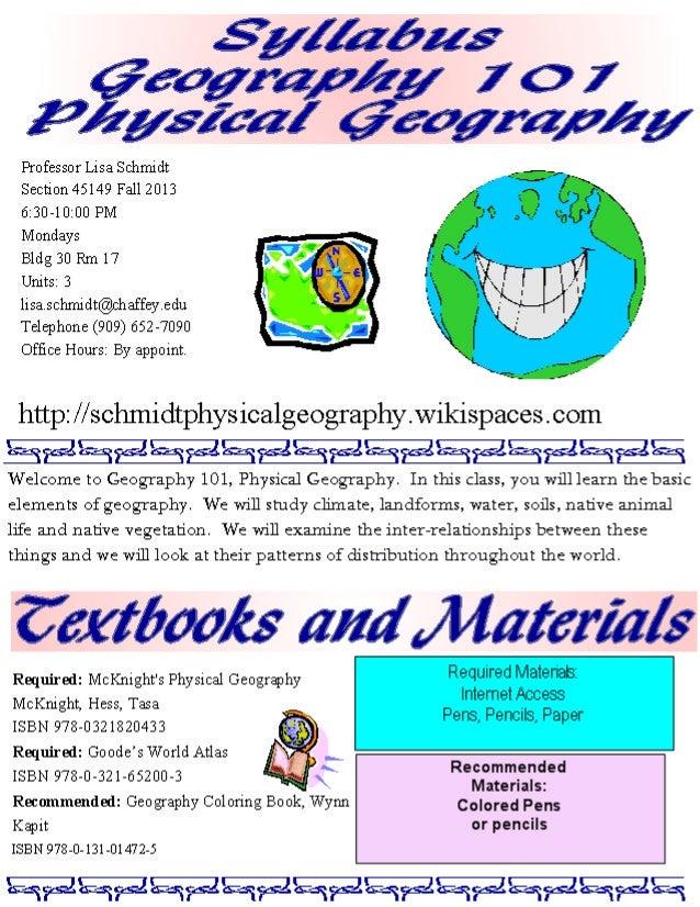 Syllabus geog 101 m fall 2013 s