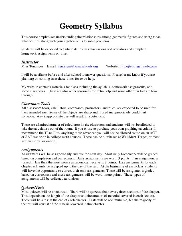 Geometry SyllabusThis course emphasizes understanding the relationships among geometric figures and using thoserelationshi...