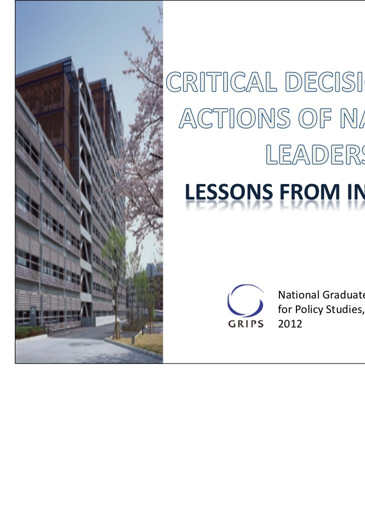LESSONS FROM INDONESIA       National Graduate Institute         for Policy Studies, Tokyo, Japan       2012