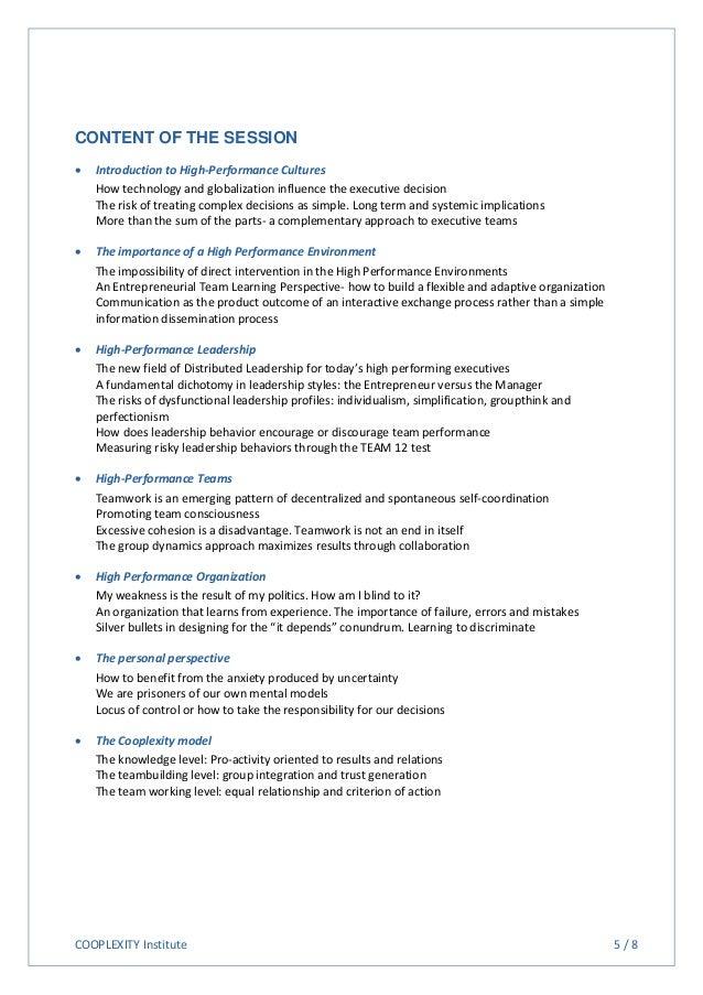 Syllabus High Performance Teams Certification