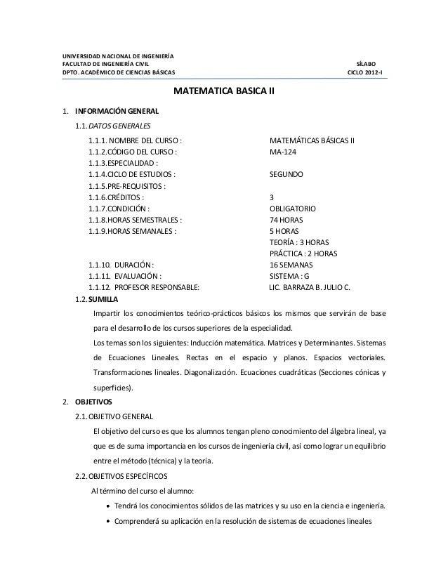 UNIVERSIDAD NACIONAL DE INGENIERÍA FACULTAD DE INGENIERÍA CIVIL SÍLABO DPTO. ACADÉMICO DE CIENCIAS BÁSICAS CICLO 2012-I MA...