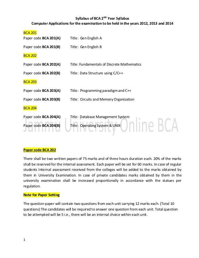 Syllabus of BCA Second Year JAMMU University