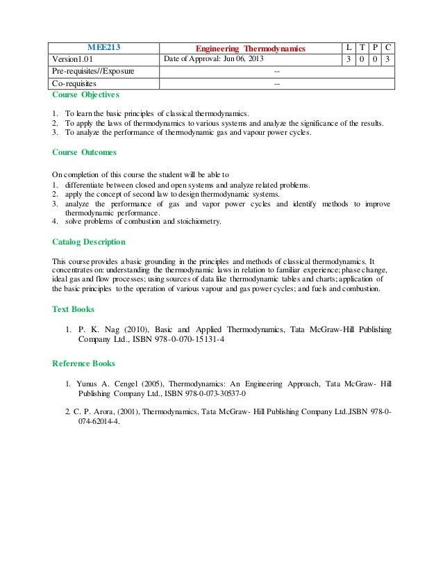 Syllabus of engineering thermodynamics