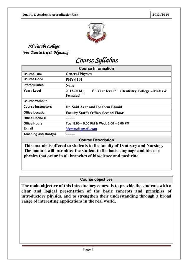 Quality & Academic Accreditation Unit  2013/2014  Al Farabi College For Dentistry & Nursing  Course Syllabus Course Code  ...