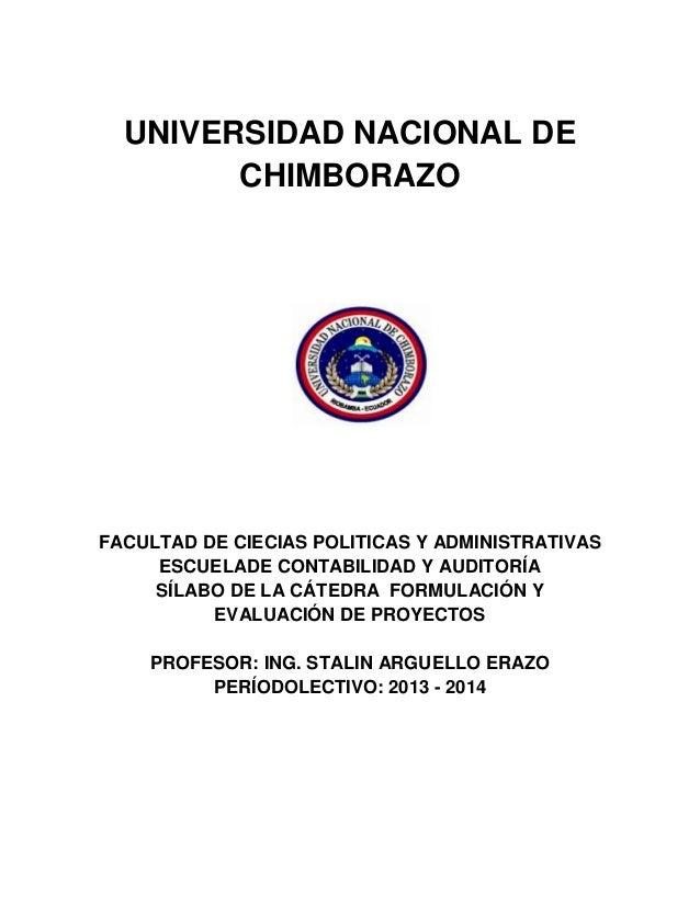 UNIVERSIDAD NACIONAL DE CHIMBORAZO FACULTAD DE CIECIAS POLITICAS Y ADMINISTRATIVAS ESCUELADE CONTABILIDAD Y AUDITORÍA SÍLA...