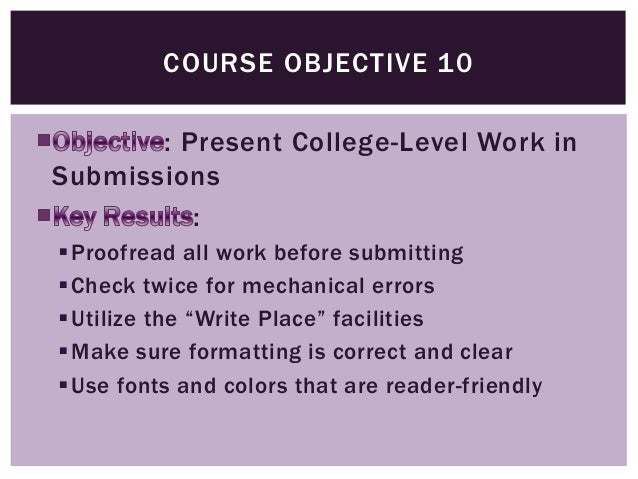 library database online 12 course objective - Personal Objective