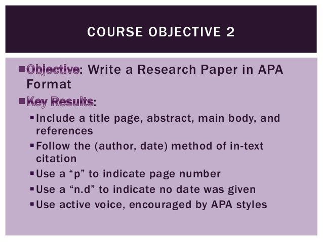 how to write objectives for a research paper