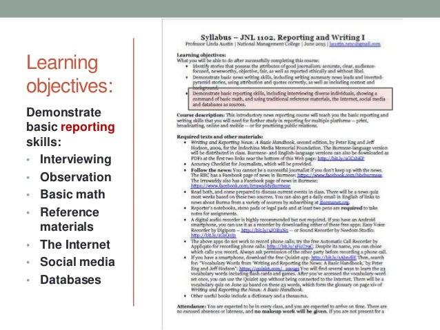 Advanced News Reporting and Writing Syllabus