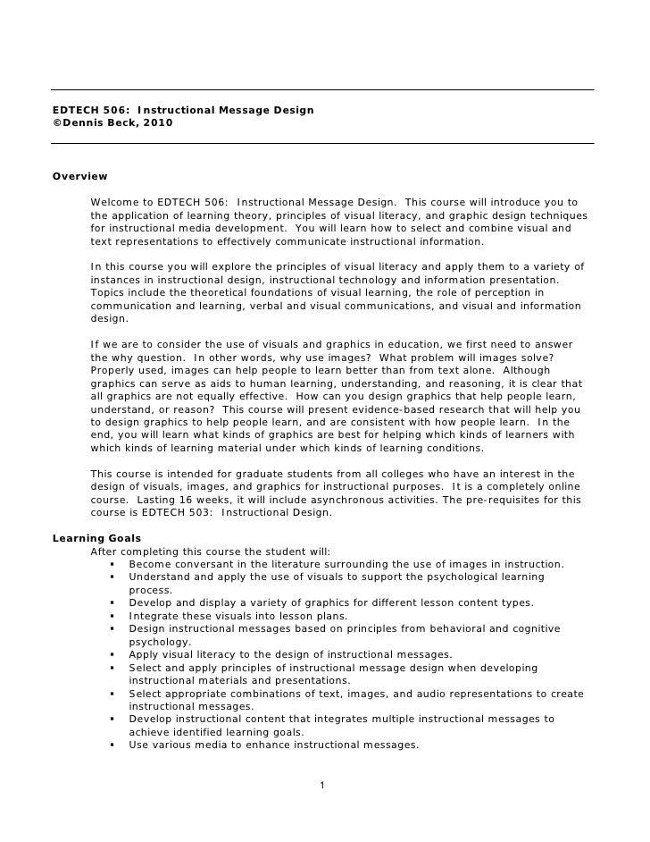 EDTECH 506: Instructional Message Design©Dennis Beck, 2010Overview      Welcome to EDTECH 506: Instructional Message Desig...
