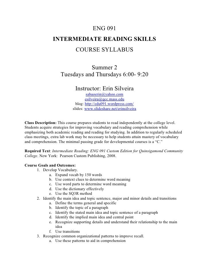 ENG 091                 INTERMEDIATE READING SKILLS                               COURSE SYLLABUS                         ...