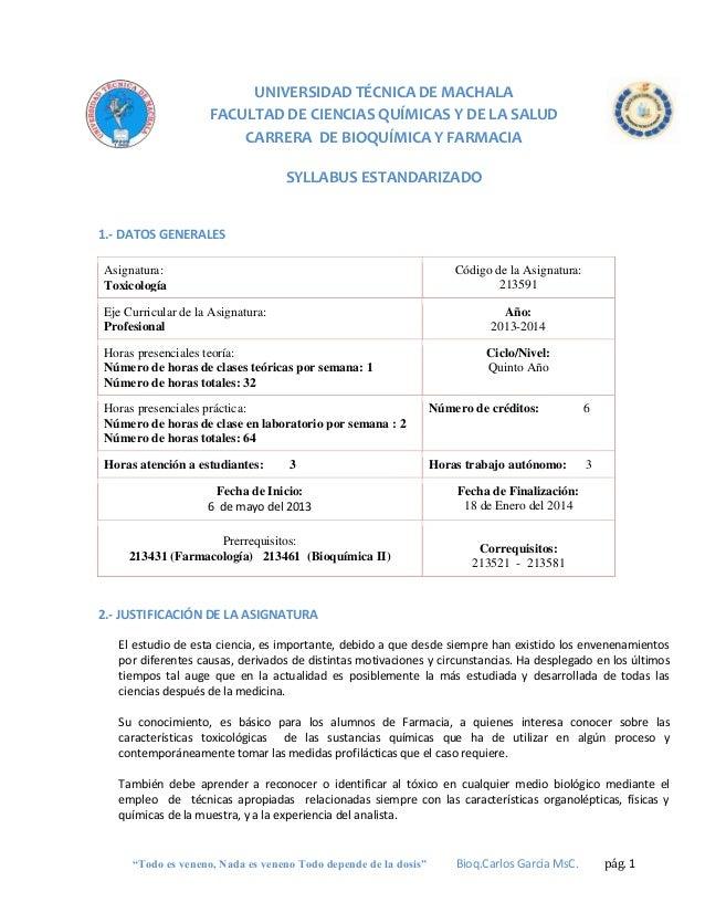 UNIVERSIDAD TÉCNICA DE MACHALA FACULTAD DE CIENCIAS QUÍMICAS Y DE LA SALUD CARRERA DE BIOQUÍMICA Y FARMACIA SYLLABUS ESTAN...