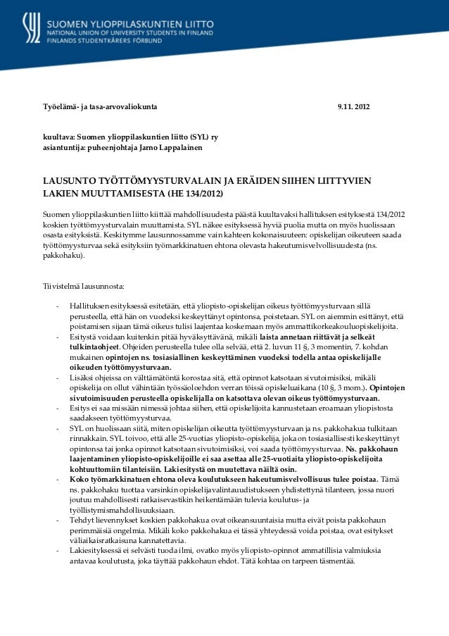 Työelämä- ja tasa-arvovaliokunta                                                           9.11. 2012kuultava: Suomen ylio...