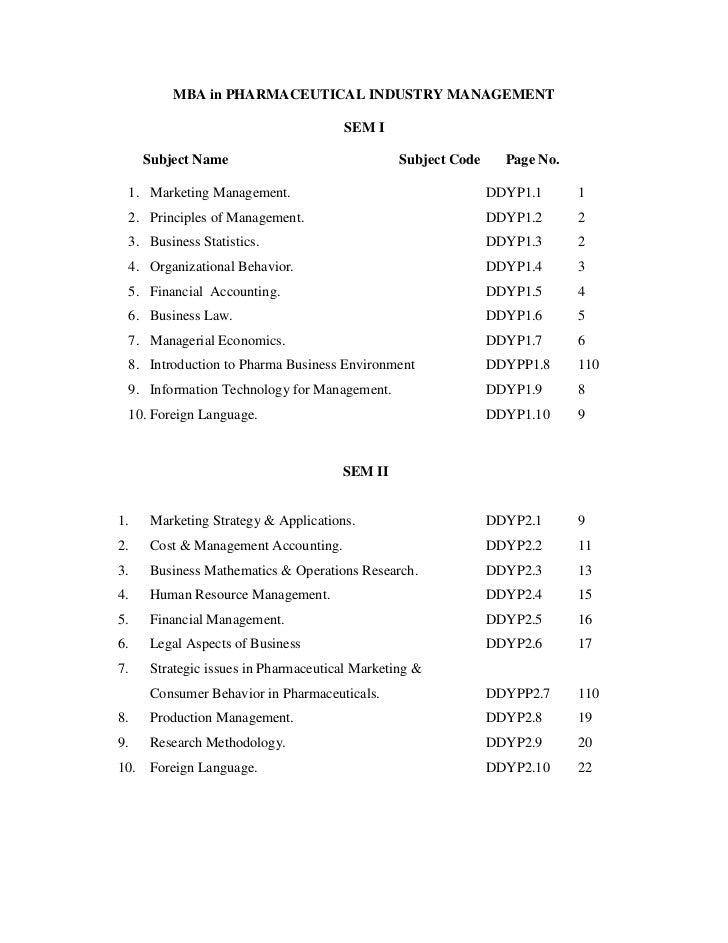 MBA in PHARMACEUTICAL INDUSTRY MANAGEMENT                                       SEM I      Subject Name                   ...