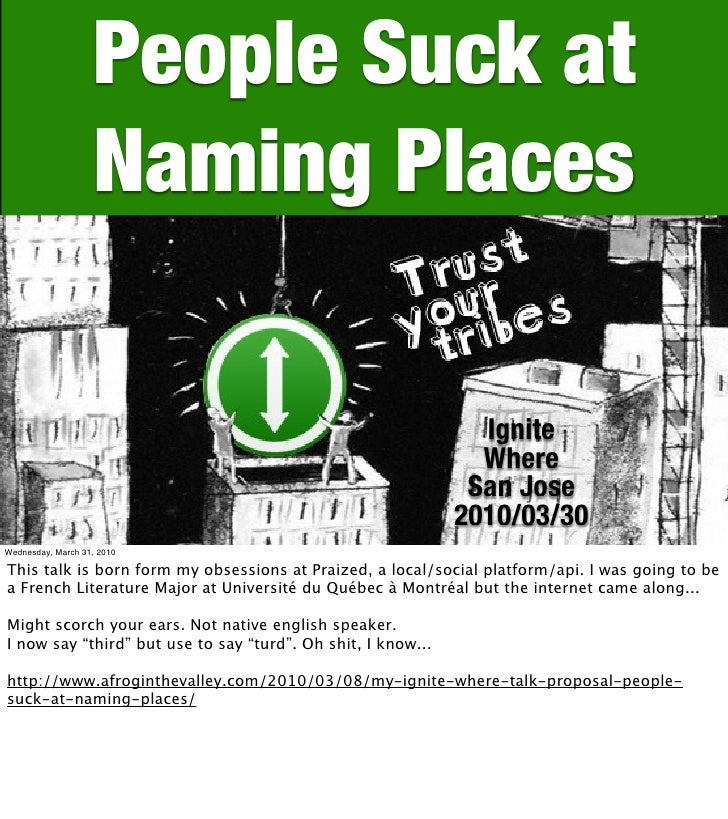 People Suck at                    Naming Places                                                                  Ignite   ...