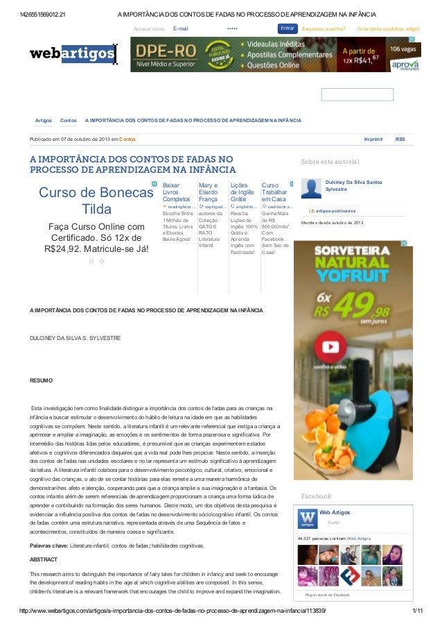1426551569012.21 AIMPORTÂNCIADOSCONTOSDEFADASNOPROCESSODEAPRENDIZAGEMNAINFÂNCIA http://www.webartigos.com/artig...