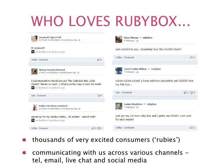 WHO LOVES RUBYBOX...thousands of very excited consumers ('rubies')communicating with us across various channels -tel, emai...