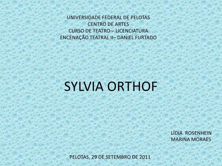 UNIVERSIDADE FEDERAL DE PELOTAS<br />CENTRO DE ARTES<br />CURSO DE TEATRO – LICENCIATURA<br />ENCENAÇÃO TEATRAL II– DANIEL...