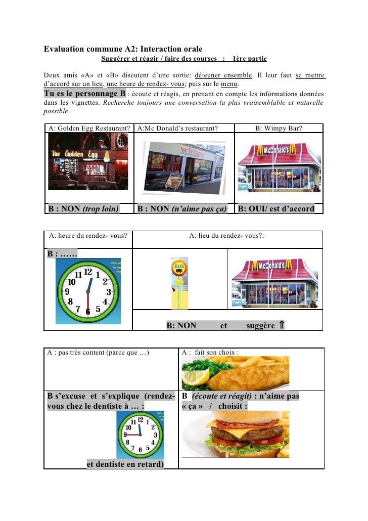 Evaluation commune A2: Interaction orale                    Suggérer et réagir / faire des courses :    1ère partie  Deux ...