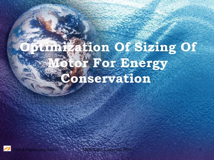 Optimization Of Sizing Of Motor For Energy Conservation
