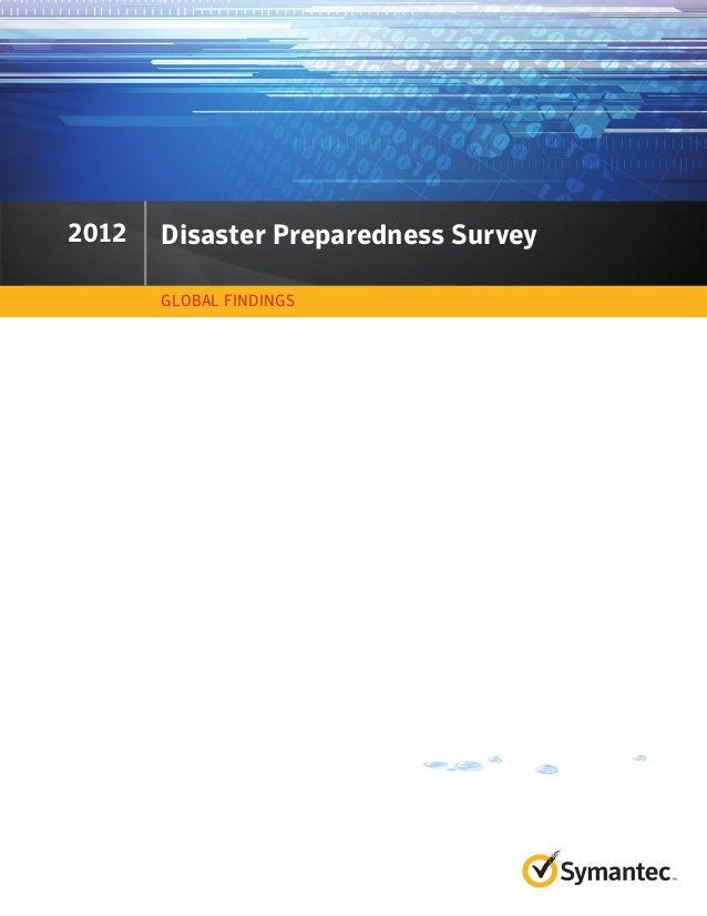 2011 Disaster Preparedness Survey GLOBAL FINDINGS 2012