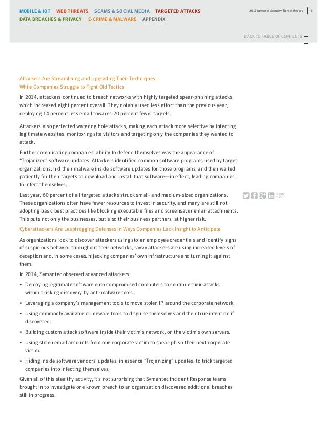 Symantec Internet Security Threat Report Volume 2015
