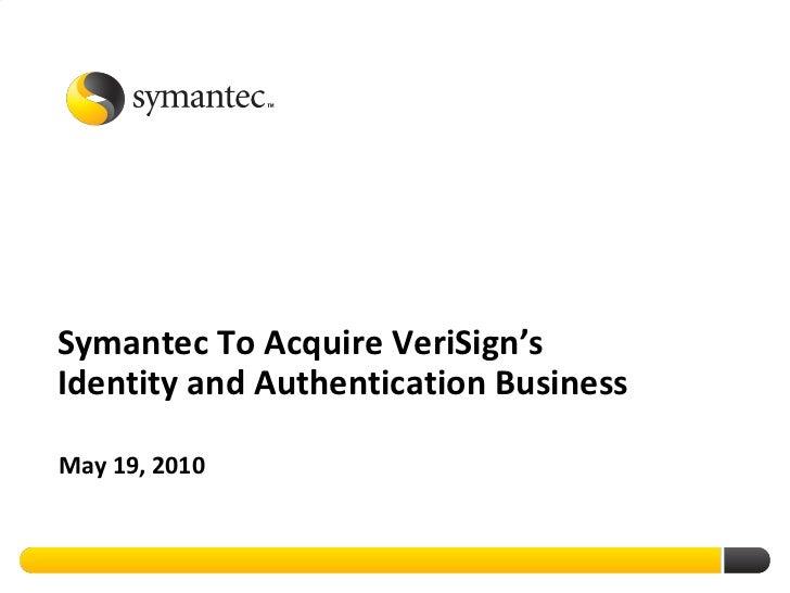 Symantec Acquires VeriSign Security Business