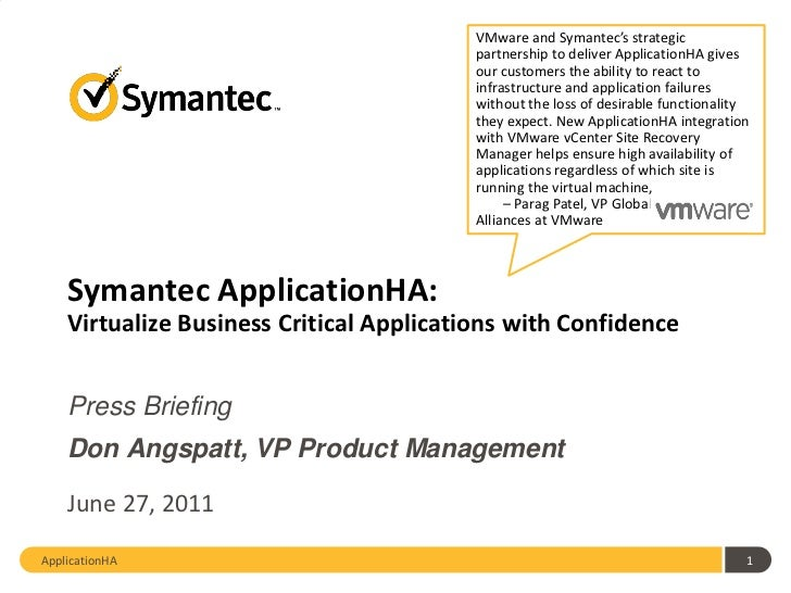 Symantec ApplicationHA June 2011