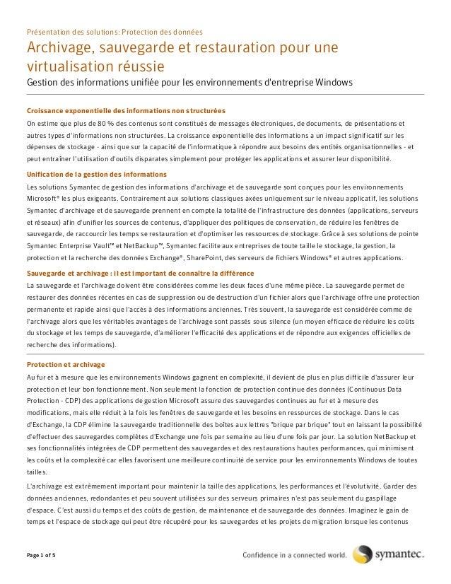 Présentation des solutions: Protection des données  Archivage, sauvegarde et restauration pour une virtualisation réussie ...
