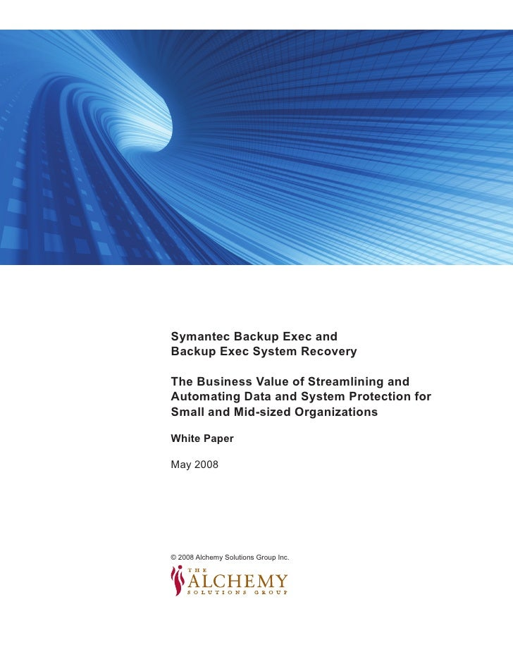 image in here                          Symantec Backup Exec and                          Backup Exec System Recovery      ...