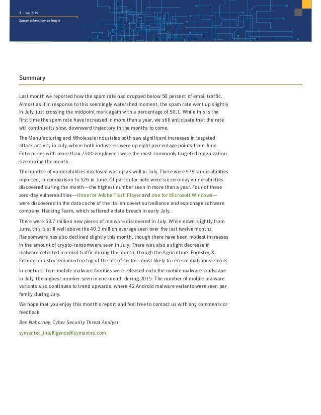 Symantec Intelligence Report July 2015 Slide 3