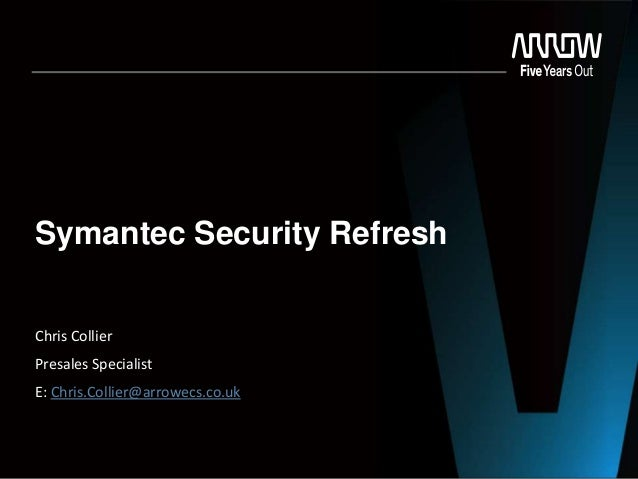 Symantec Security Refresh Chris Collier Presales Specialist E: Chris.Collier@arrowecs.co.uk