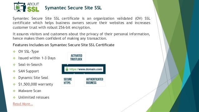 Symantec SSL Certificates Features Explained by AboutSSL.org