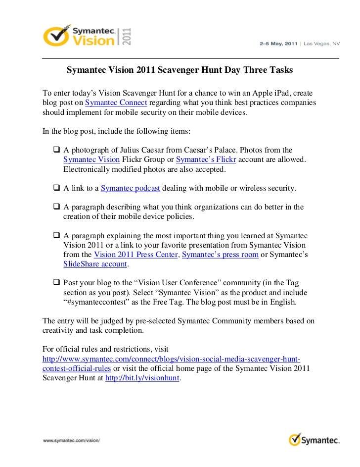 Symantec Vision 2011 Scavenger Hunt Day Three Tasks