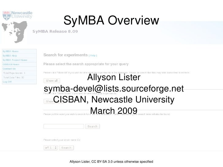 SyMBA Overview Allyson Lister [email_address] CISBAN, Newcastle University March 2009 Allyson Lister, CC BY-SA 3.0 unless ...