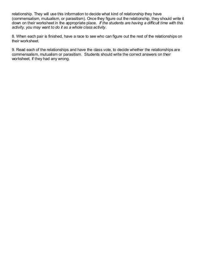 Types Of Symbiosis Worksheet Answers Worksheet Printable Blog – Symbiosis Worksheet