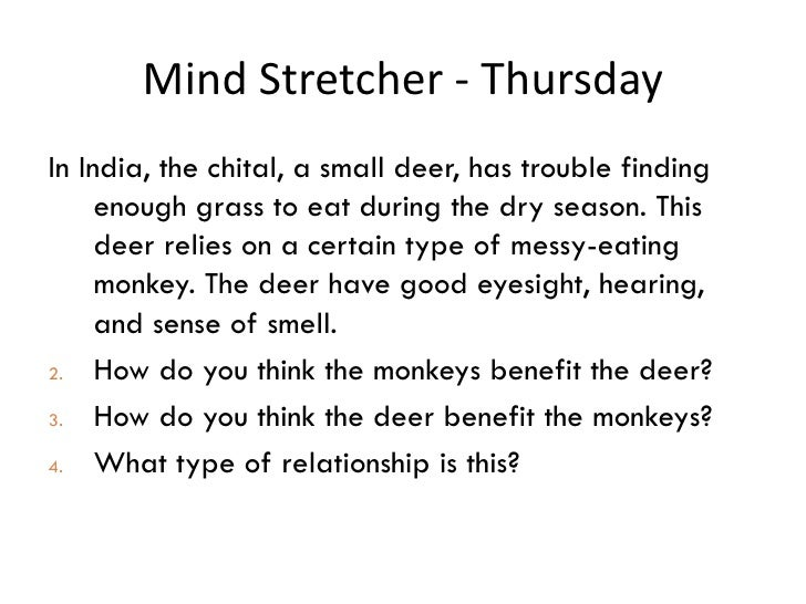 Mind Stretcher - Thursday <ul><li>In India, the chital, a small deer, has trouble finding enough grass to eat during the d...