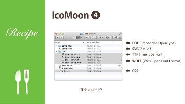 IcoMoon ❸ Recipe 設定変更 • IcoMoon → anne-library • icon- → ai- • Class Selector → .ai IcoMoonのデフォルトの書き方 <i class= icon-eat >...