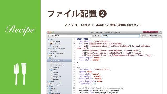 ファイル配置 ❶ Recipe フォントを fonts へ。CSSは anne-library.css にリネームして css へ。 IcoMoonから ダウンロードしたファイル