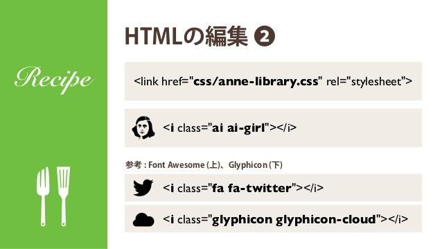 HTMLの編集 ❶ Recipe アイコン追加前の HTMLはこんな感じ。