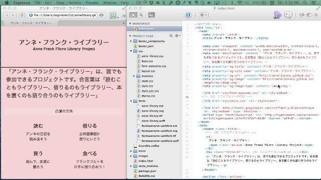 "HTMLの編集 ❷ Recipe <link href=""css/anne-library.css"" rel=""stylesheet""> <i class=""ai ai-girl""></i> <i class=""fa fa-twitter""><..."