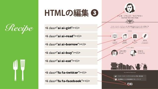 """HTMLの編集 ❸ Recipe <i class=""""ai ai-girl""""></i> <i class=""""fa fa-twitter""""></i> <i class=""""fa fa-facebook""""></i> <i class=""""ai ai-r..."""
