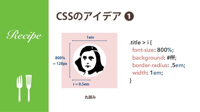 CSSのアイデア ❶ Recipe ! .title > i { font-size: 800%; background: #fff; border-radius: .5em; width: 1em; } 800% = 128px r = 0....