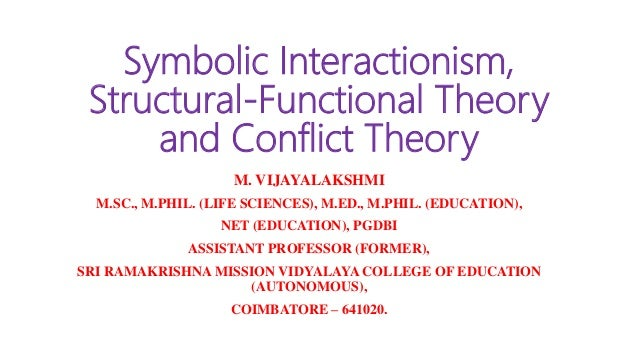 Symbolic Interactionism, Structural-Functional Theory and Conflict Theory M. VIJAYALAKSHMI M.SC., M.PHIL. (LIFE SCIENCES),...