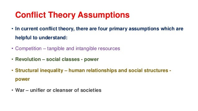 Key Takeaways  Conflict theory focuses on the competition between groups within society over limited resources.  Conflic...