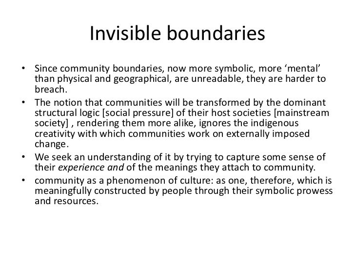 Symbolic Social Construction Of Community