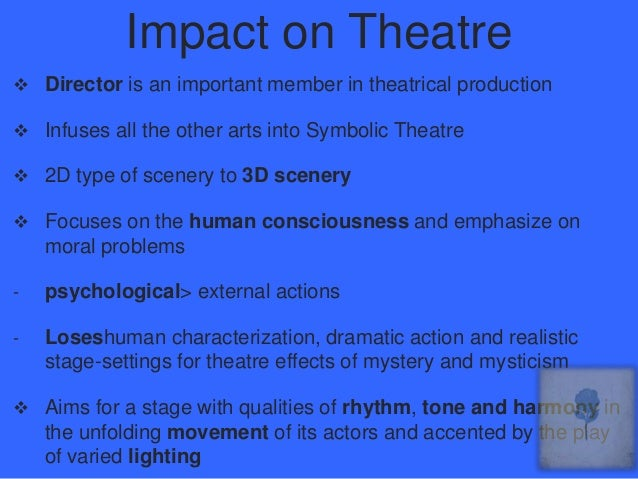 symbolism in modern drama The appreciative character of any theatre production with theatrical elements is  enshrined in its visual symbolism experience has shown that no two productions .