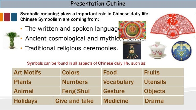 Chinese Culture Symbols Joanne Chen 2015; 2. Presentation Outline Symbolic  Meaning Plays A ...