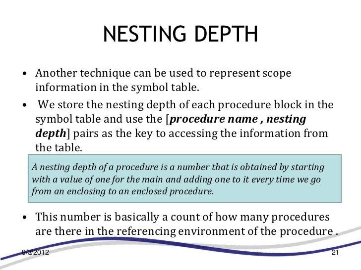 NESTING DEPTH• Another technique can be used to represent scope  information in the symbol table.• We store the nesting de...